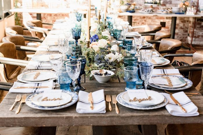 Gorgeous Dining Table from a Rustic Vintage Blueberry Baby Shower on Kara's Party Ideas | KarasPartyIdeas.com (28)