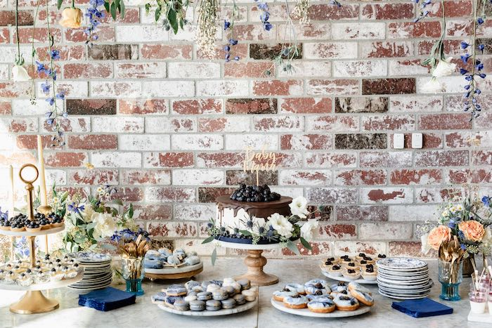Dessert Table from a Rustic Vintage Blueberry Baby Shower on Kara's Party Ideas | KarasPartyIdeas.com (27)