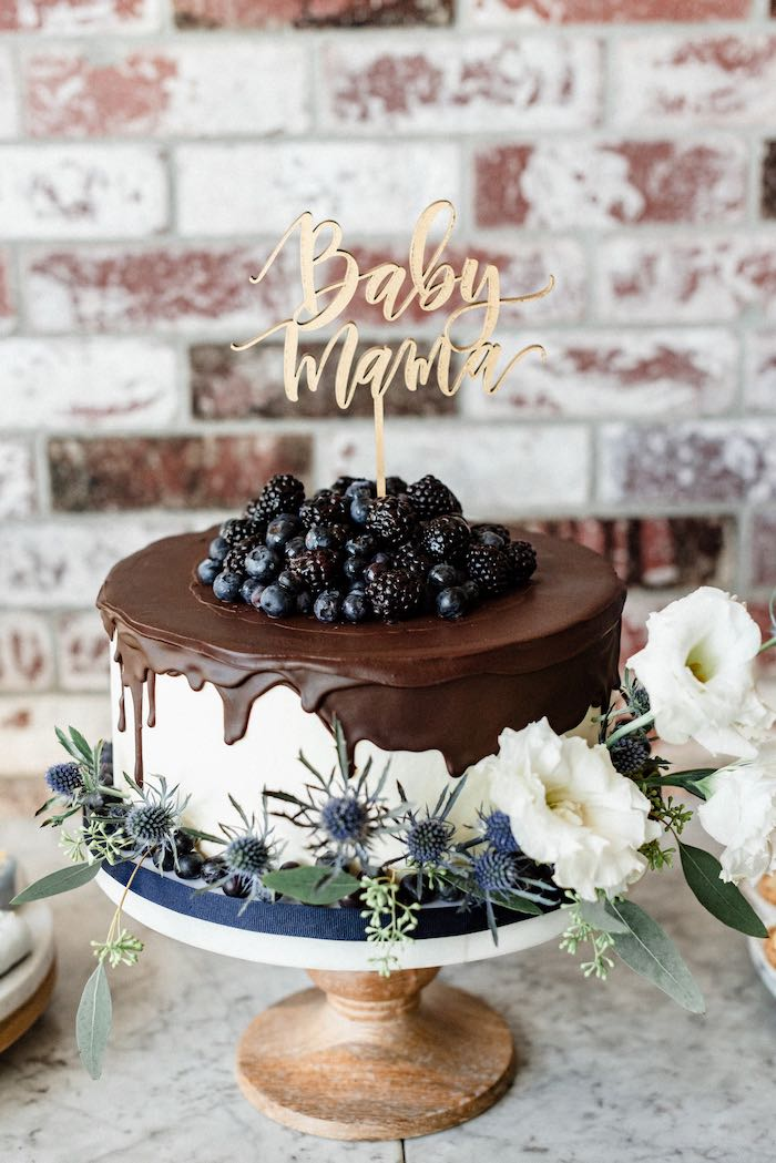 Chocolate Blueberry Drip Cake from a Rustic Vintage Blueberry Baby Shower on Kara's Party Ideas | KarasPartyIdeas.com (25)