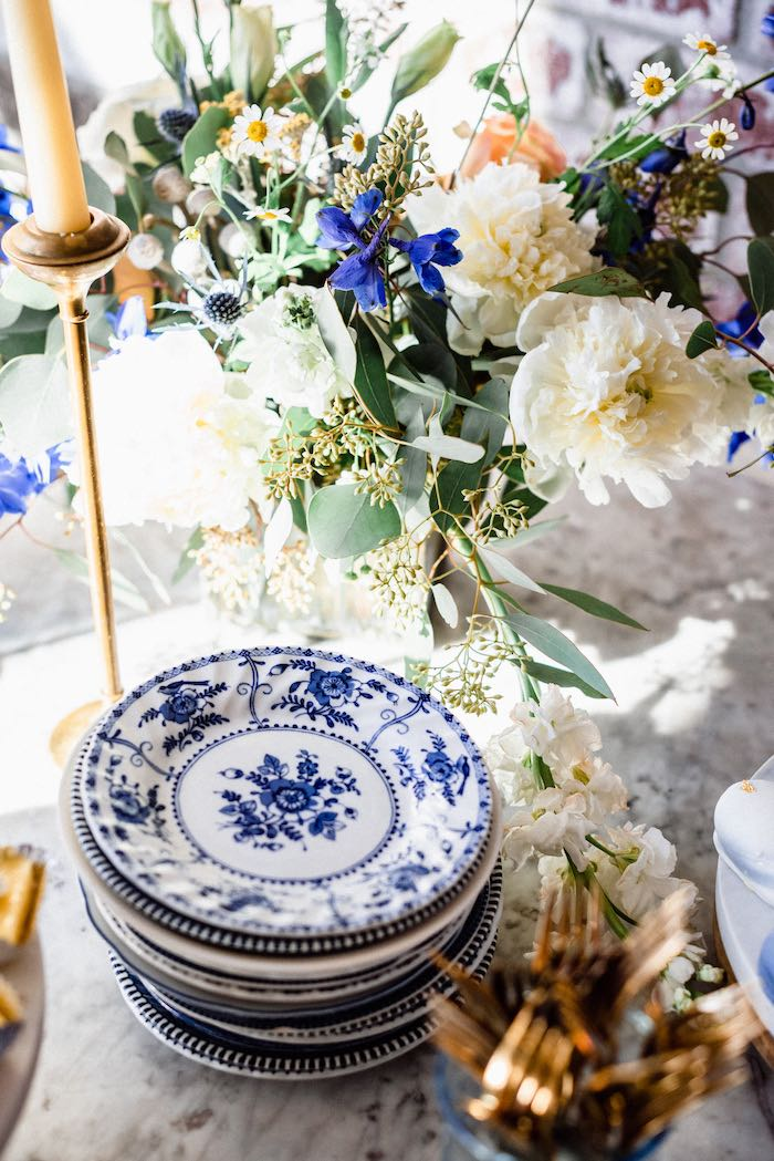 Blue + White Chinaware from a Rustic Vintage Blueberry Baby Shower on Kara's Party Ideas | KarasPartyIdeas.com (22)