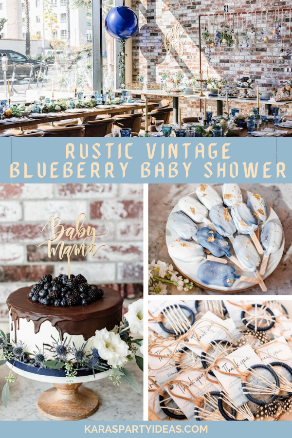 Rustic Vintage Blueberry Baby Shower via Kara's Party Ideas - KarasPartyIdeas.com