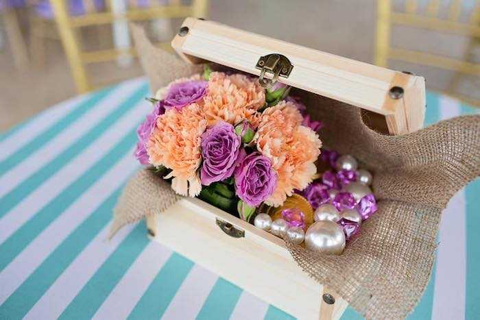 Treasure Chest Centerpiece full of Blooms from a Salty Air + Mermaid Vibes Birthday Party on Kara's Party Ideas | KarasPartyIdeas.com (28)