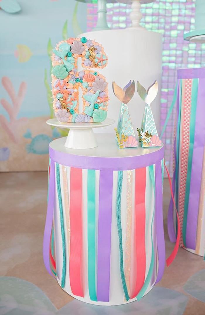 Ribbon-adorned Pedestal Dessert Table from a Salty Air + Mermaid Vibes Birthday Party on Kara's Party Ideas | KarasPartyIdeas.com (22)