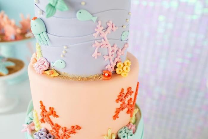 Under the Sea Cake from a Salty Air + Mermaid Vibes Birthday Party on Kara's Party Ideas | KarasPartyIdeas.com (20)