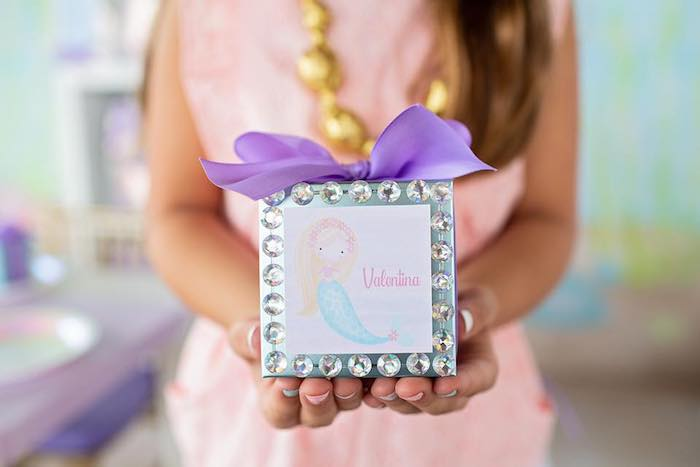 Jeweled Mermaid Gift Box from a Salty Air + Mermaid Vibes Birthday Party on Kara's Party Ideas | KarasPartyIdeas.com (38)