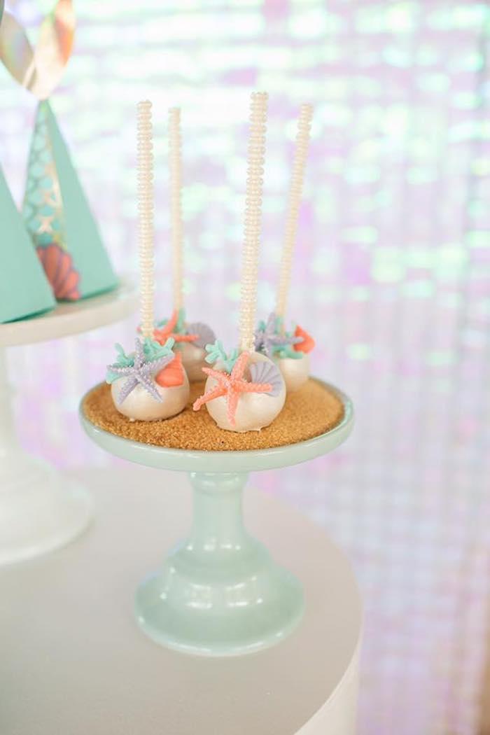Under the Sea Cake Pops from a Salty Air + Mermaid Vibes Birthday Party on Kara's Party Ideas | KarasPartyIdeas.com (17)