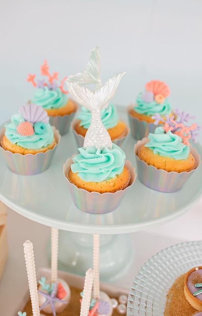 Mermaid-inspired Cupcakes from a Salty Air + Mermaid Vibes Birthday Party on Kara's Party Ideas | KarasPartyIdeas.com (15)
