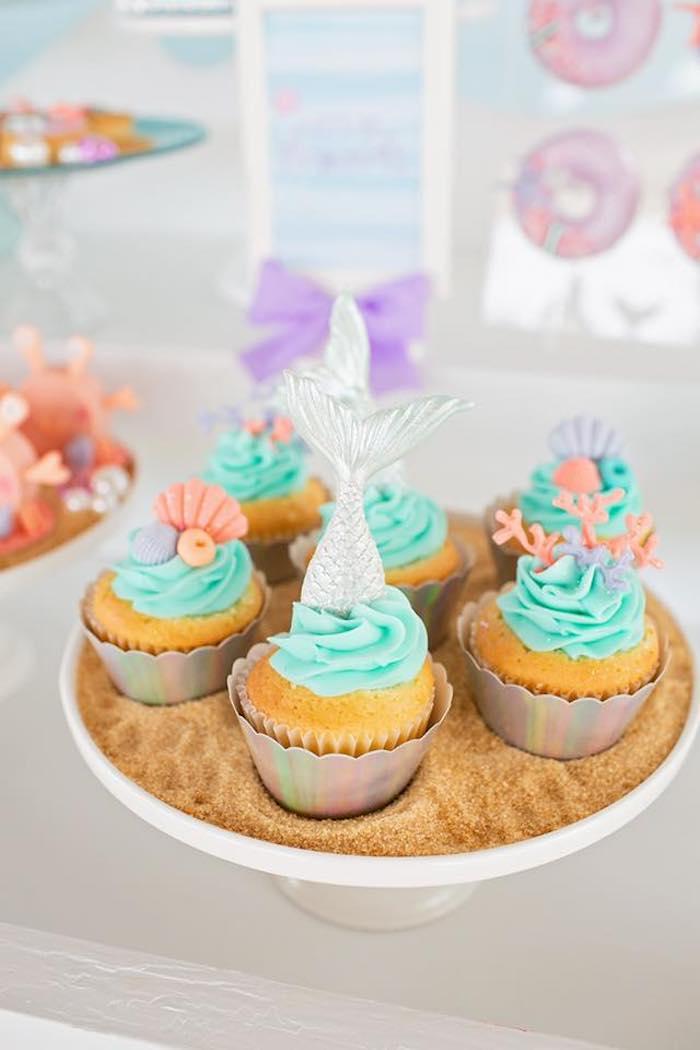 Mermaid-inspired Cupcakes from a Salty Air + Mermaid Vibes Birthday Party on Kara's Party Ideas | KarasPartyIdeas.com (13)