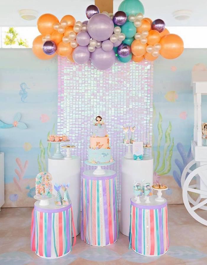 Mermaid Themed Dessert Spread from a Salty Air + Mermaid Vibes Birthday Party on Kara's Party Ideas | KarasPartyIdeas.com (12)