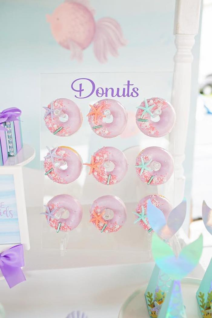 Under the Sea Donuts + Donut Board from a Salty Air + Mermaid Vibes Birthday Party on Kara's Party Ideas | KarasPartyIdeas.com (37)