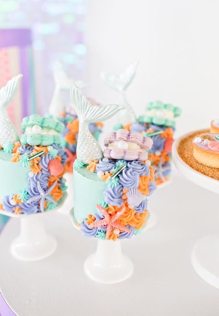 Mini Mermaid Cakes from a Salty Air + Mermaid Vibes Birthday Party on Kara's Party Ideas | KarasPartyIdeas.com (9)