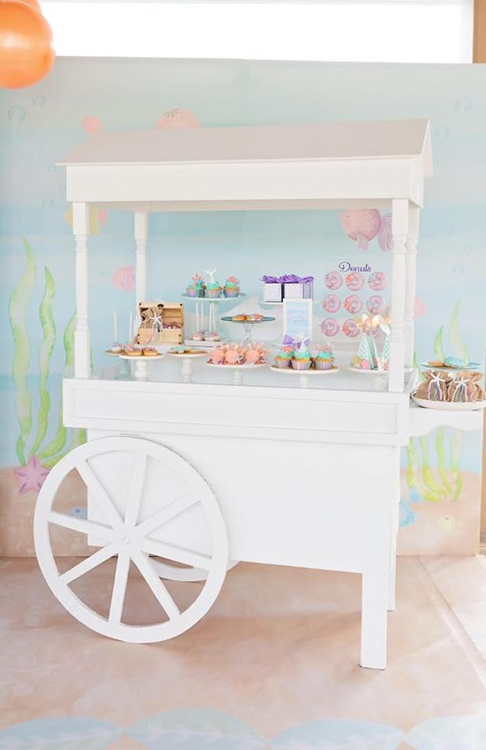 Dessert Cart from a Salty Air + Mermaid Vibes Birthday Party on Kara's Party Ideas | KarasPartyIdeas.com (6)