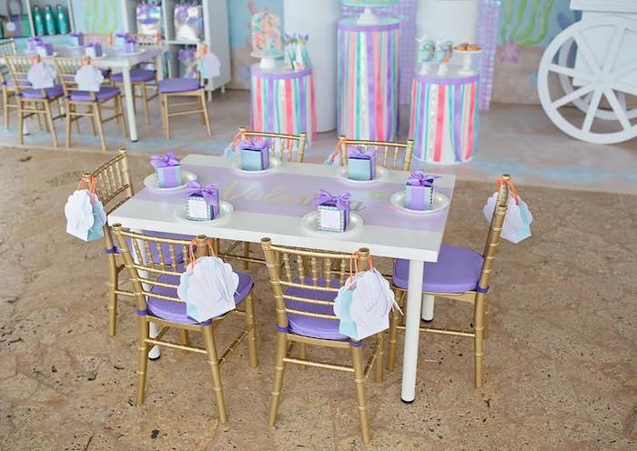 Mermaid Kid Table from a Salty Air + Mermaid Vibes Birthday Party on Kara's Party Ideas | KarasPartyIdeas.com (5)