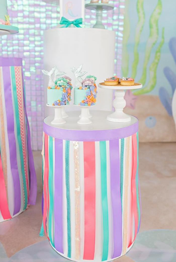 Ribboned Dessert Pedestal Table from a Salty Air + Mermaid Vibes Birthday Party on Kara's Party Ideas | KarasPartyIdeas.com (2)