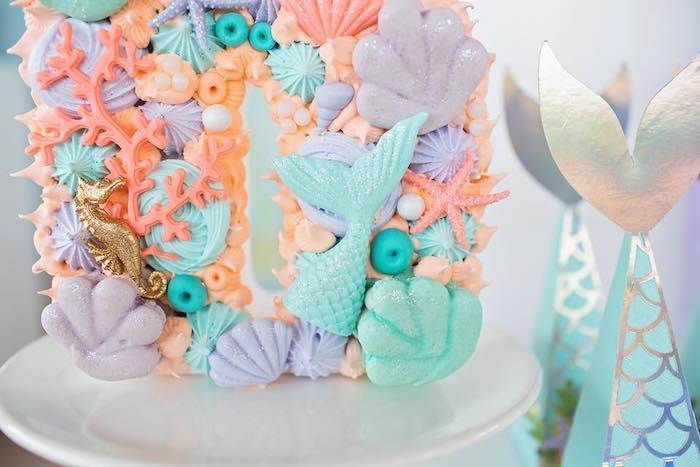 Sea Shell Macarons + Meringues from a Salty Air + Mermaid Vibes Birthday Party on Kara's Party Ideas | KarasPartyIdeas.com (36)