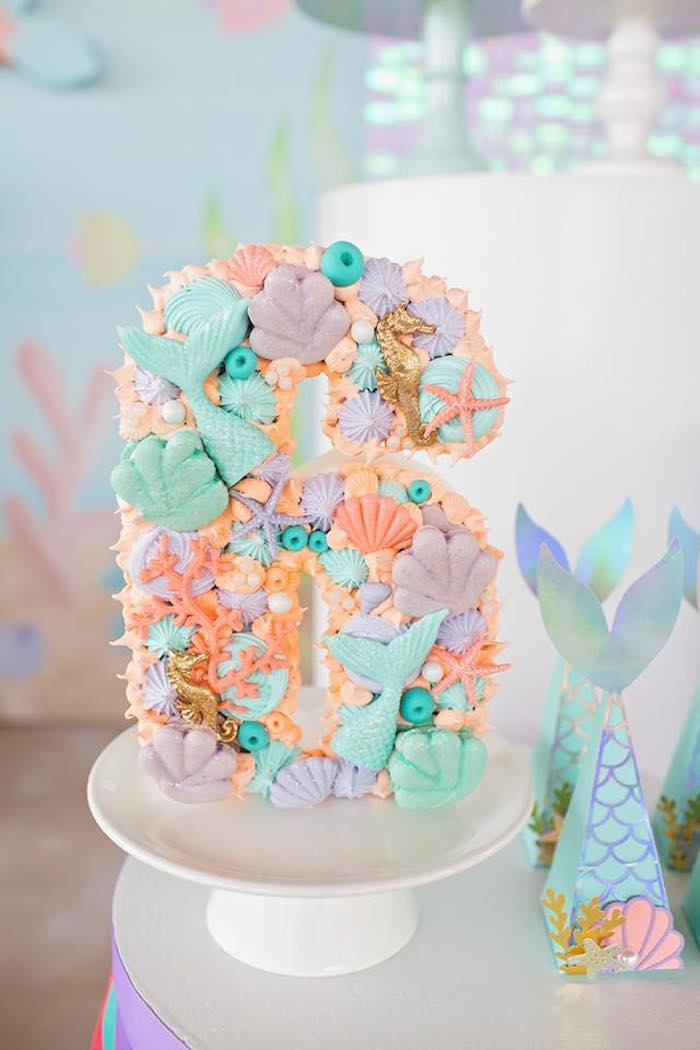 Under the Sea Mermaid-inspired Meringue and Macaron Block Number from a Salty Air + Mermaid Vibes Birthday Party on Kara's Party Ideas | KarasPartyIdeas.com (34)