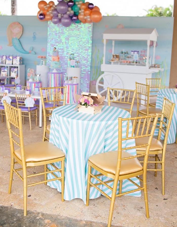Guest Table from a Salty Air + Mermaid Vibes Birthday Party on Kara's Party Ideas | KarasPartyIdeas.com (33)