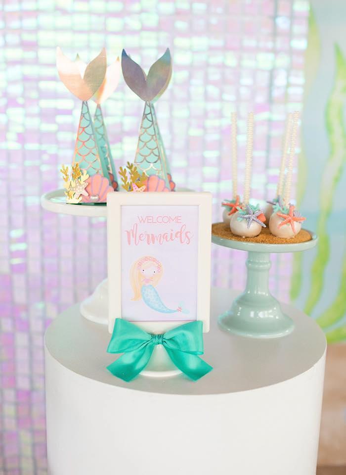Pedestal Dessert Table from a Salty Air + Mermaid Vibes Birthday Party on Kara's Party Ideas | KarasPartyIdeas.com (32)