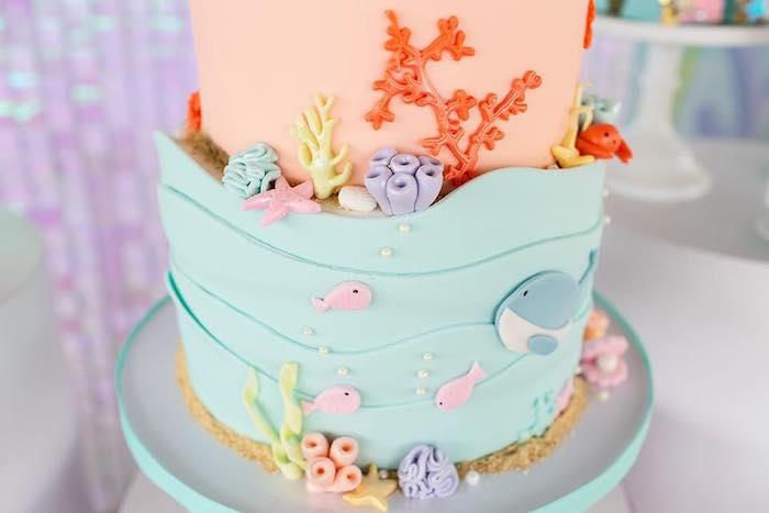 Under the Sea Cake from a Salty Air + Mermaid Vibes Birthday Party on Kara's Party Ideas | KarasPartyIdeas.com (31)