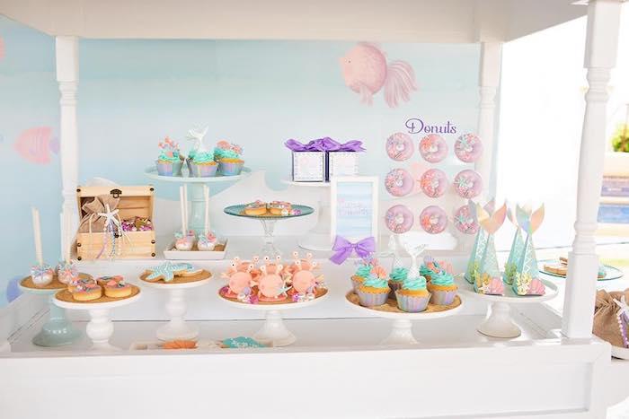 Dessert Cart from a Salty Air + Mermaid Vibes Birthday Party on Kara's Party Ideas | KarasPartyIdeas.com (30)