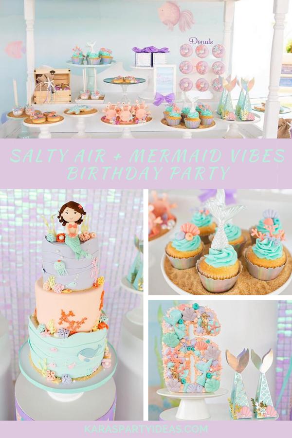 Salty Air + Mermaid Vibes Birthday Party via Kara's Party Ideas - KarasPartyIdeas.com