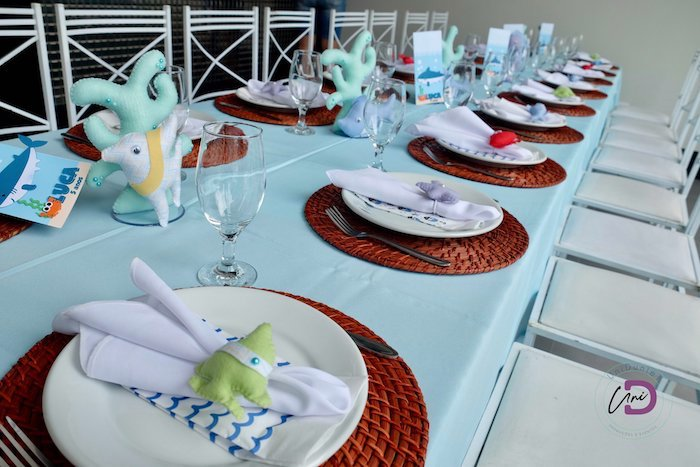Under the Sea Themed Guest Table from a Shark Under the Sea Birthday Party on Kara's Party Ideas | KarasPartyIdeas.com (27)