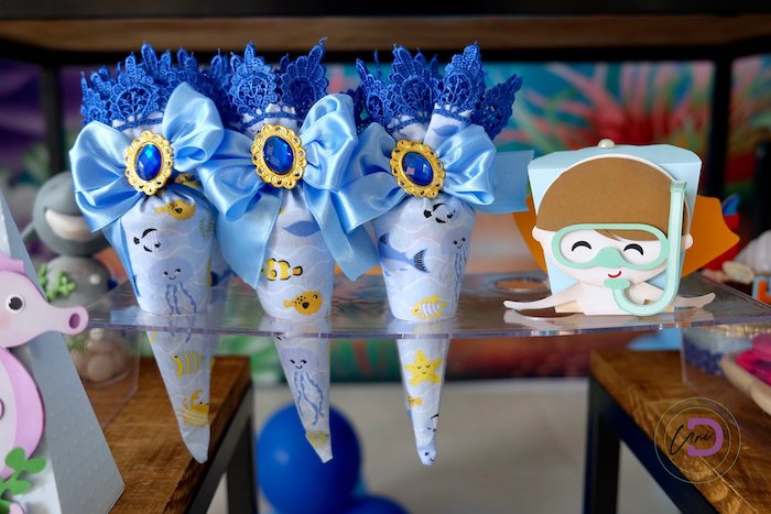 Under the Sea Favor Cones from a Shark Under the Sea Birthday Party on Kara's Party Ideas | KarasPartyIdeas.com (25)