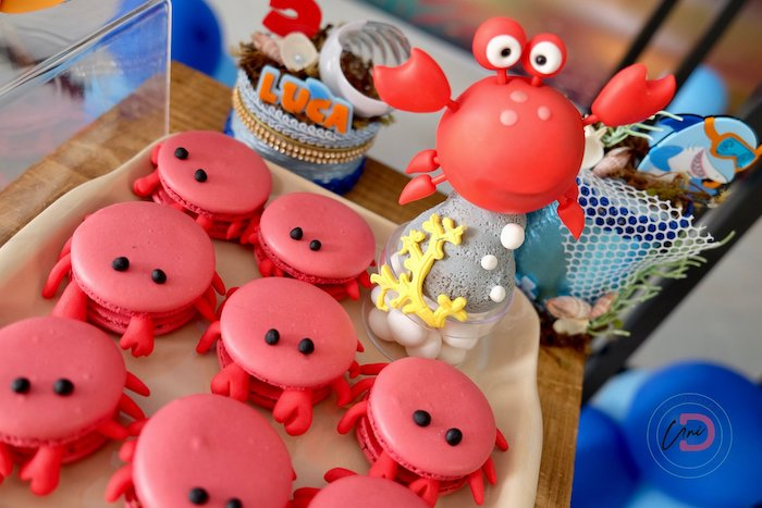 Crab Macarons from a Shark Under the Sea Birthday Party on Kara's Party Ideas | KarasPartyIdeas.com (14)