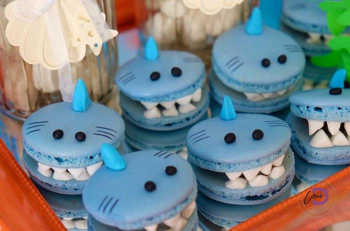 Shark Macarons from a Shark Under the Sea Birthday Party on Kara's Party Ideas | KarasPartyIdeas.com (13)