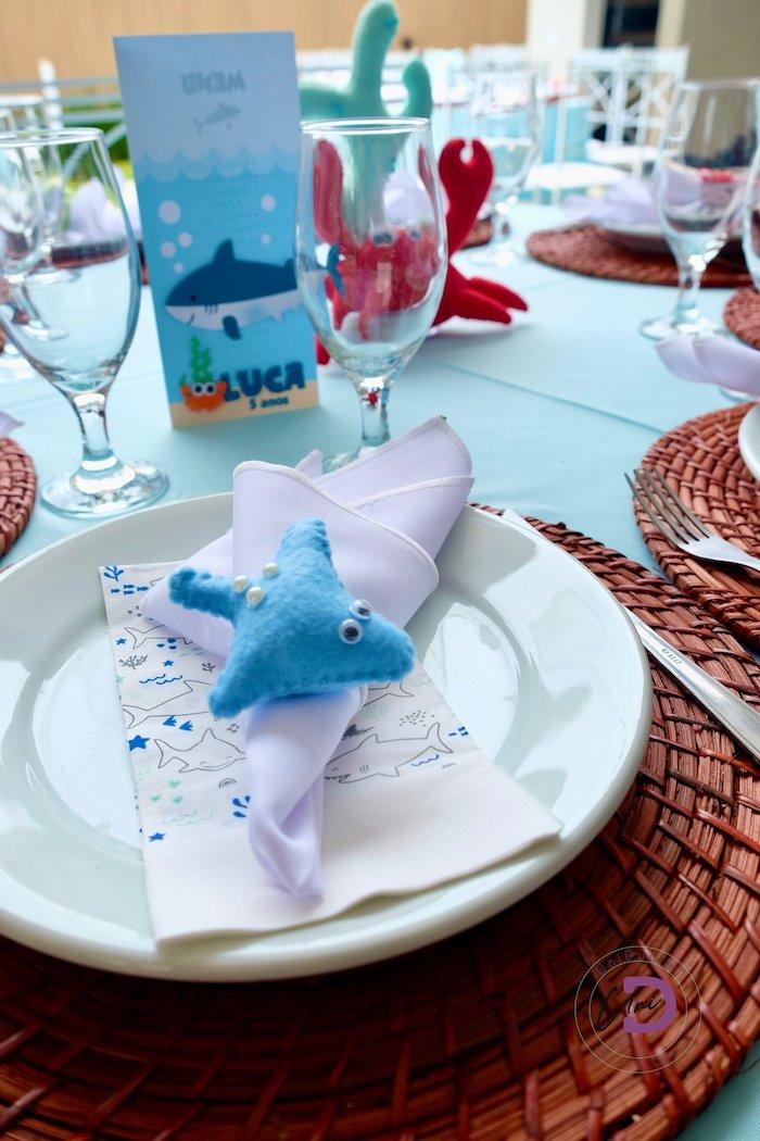 Shark Napkin Ring + Table Setting from a Shark Under the Sea Birthday Party on Kara's Party Ideas | KarasPartyIdeas.com (39)