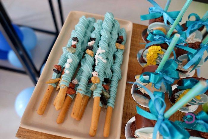Under the Sea Themed Snack Sticks from a Shark Under the Sea Birthday Party on Kara's Party Ideas | KarasPartyIdeas.com (10)