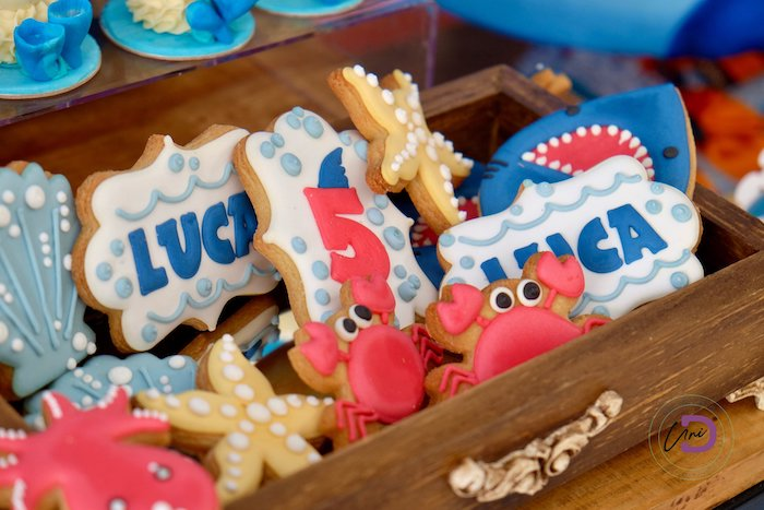Under the Sea Cookies from a Shark Under the Sea Birthday Party on Kara's Party Ideas | KarasPartyIdeas.com (6)