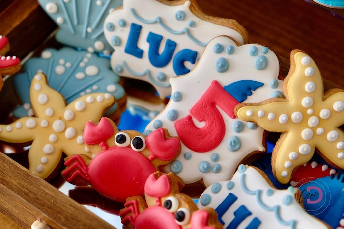 Under the Sea Cookies from a Shark Under the Sea Birthday Party on Kara's Party Ideas | KarasPartyIdeas.com (38)