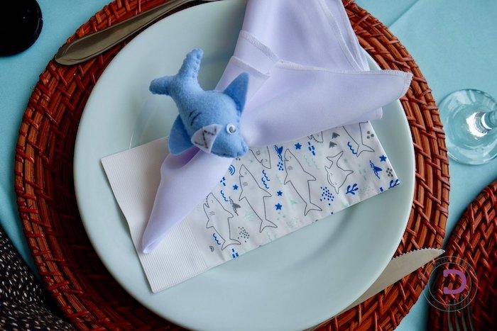 Shark Napkin Ring + Table Setting from a Shark Under the Sea Birthday Party on Kara's Party Ideas | KarasPartyIdeas.com (34)