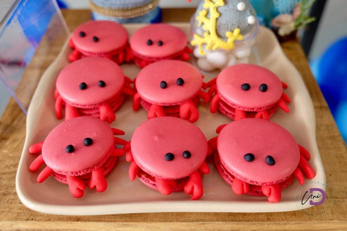 Crab Macarons from a Shark Under the Sea Birthday Party on Kara's Party Ideas | KarasPartyIdeas.com (33)