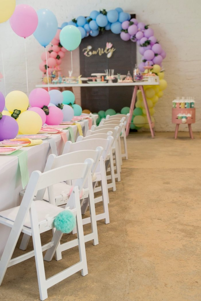 Pastel Bunny Themed Guest Table from a Some Bunny is One Birthday Party on Kara's Party Ideas | KarasPartyIdeas.com (37)