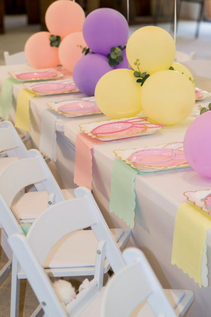 Pastel Table Settings from a Some Bunny is One Birthday Party on Kara's Party Ideas | KarasPartyIdeas.com (35)