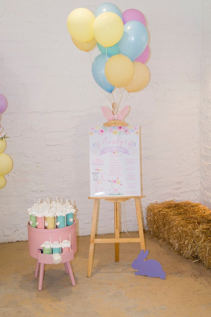 Bunny-inspired Milestone Board from a Some Bunny is One Birthday Party on Kara's Party Ideas | KarasPartyIdeas.com (34)