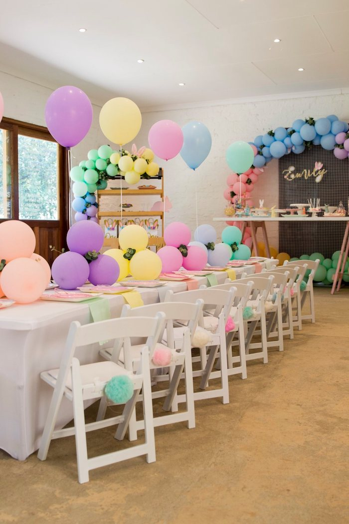 Pastel Party Table from a Some Bunny is One Birthday Party on Kara's Party Ideas | KarasPartyIdeas.com (33)