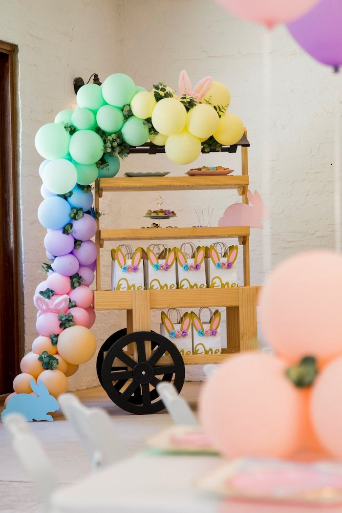 Favor + Dessert Cart from a Some Bunny is One Birthday Party on Kara's Party Ideas | KarasPartyIdeas.com (31)