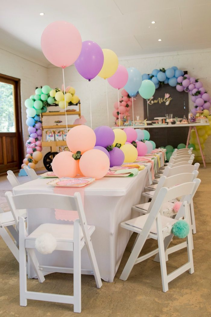 Pastel Bunny Themed Guest Table from a Some Bunny is One Birthday Party on Kara's Party Ideas | KarasPartyIdeas.com (29)