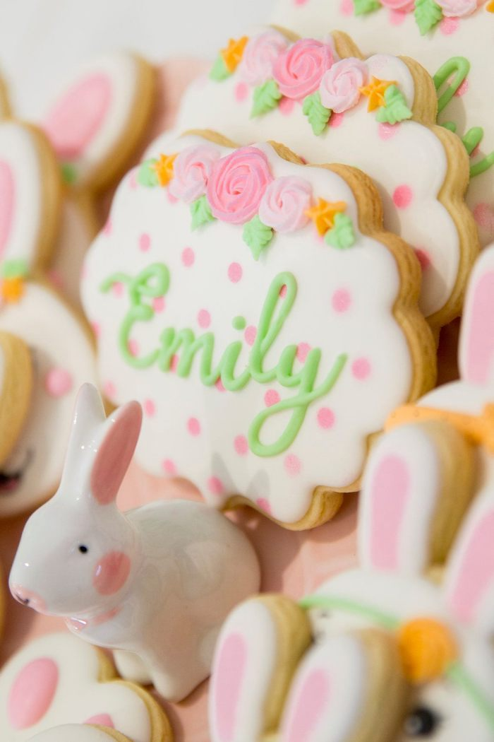 Custom Floral + Polka Dot Cookie from a Some Bunny is One Birthday Party on Kara's Party Ideas | KarasPartyIdeas.com (28)