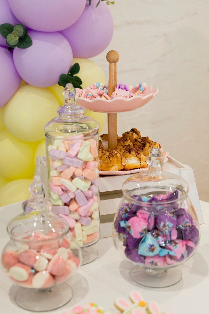 Pastel Dessert Table from a Some Bunny is One Birthday Party on Kara's Party Ideas | KarasPartyIdeas.com (25)