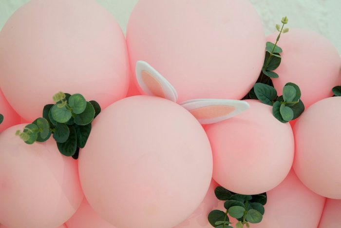 Bunny + Bloom Balloon Garland from a Some Bunny is One Birthday Party on Kara's Party Ideas | KarasPartyIdeas.com (23)