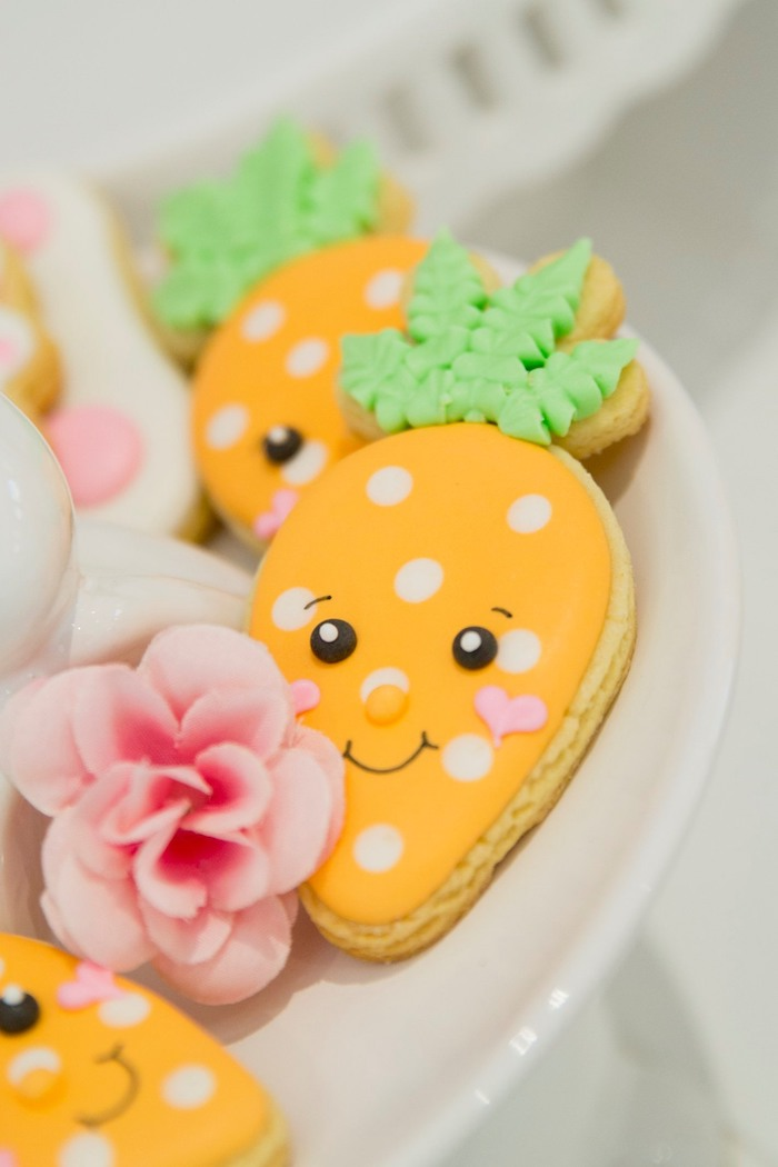 Carrot Face Cookies from a Some Bunny is One Birthday Party on Kara's Party Ideas | KarasPartyIdeas.com (22)