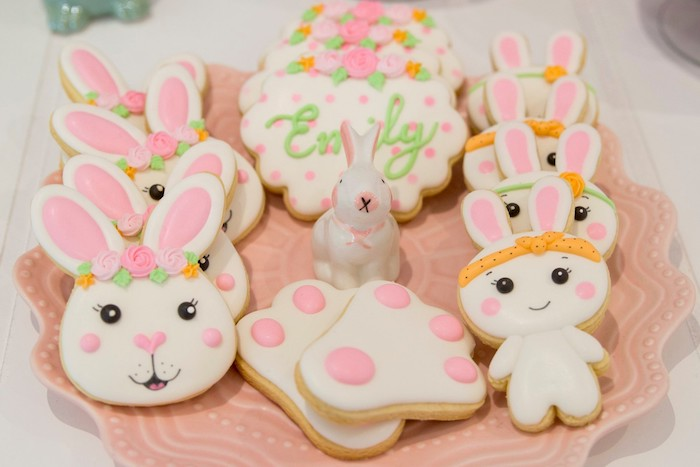 Bunny Themed Sugar Cookies from a Some Bunny is One Birthday Party on Kara's Party Ideas | KarasPartyIdeas.com (21)