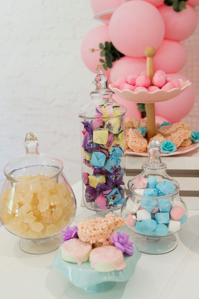 Pastel Dessert Table from a Some Bunny is One Birthday Party on Kara's Party Ideas | KarasPartyIdeas.com (20)