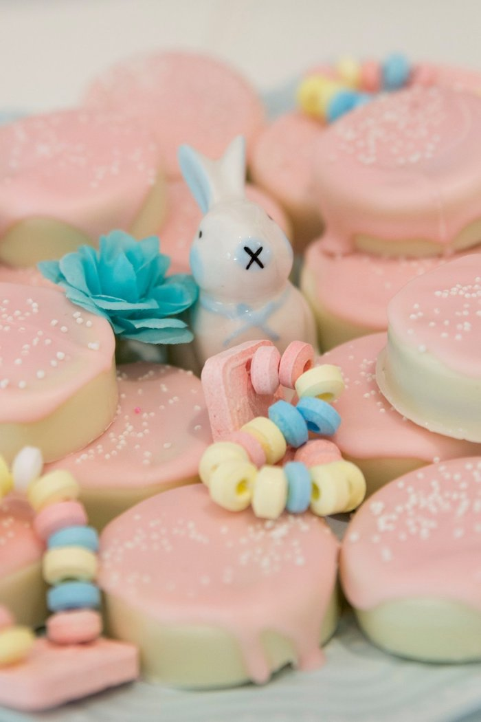 Covered Oreos + Candy Bracelets from a Some Bunny is One Birthday Party on Kara's Party Ideas | KarasPartyIdeas.com (17)