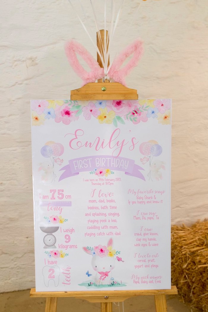 Bunny-inspired Milestone Board from a Some Bunny is One Birthday Party on Kara's Party Ideas | KarasPartyIdeas.com (8)