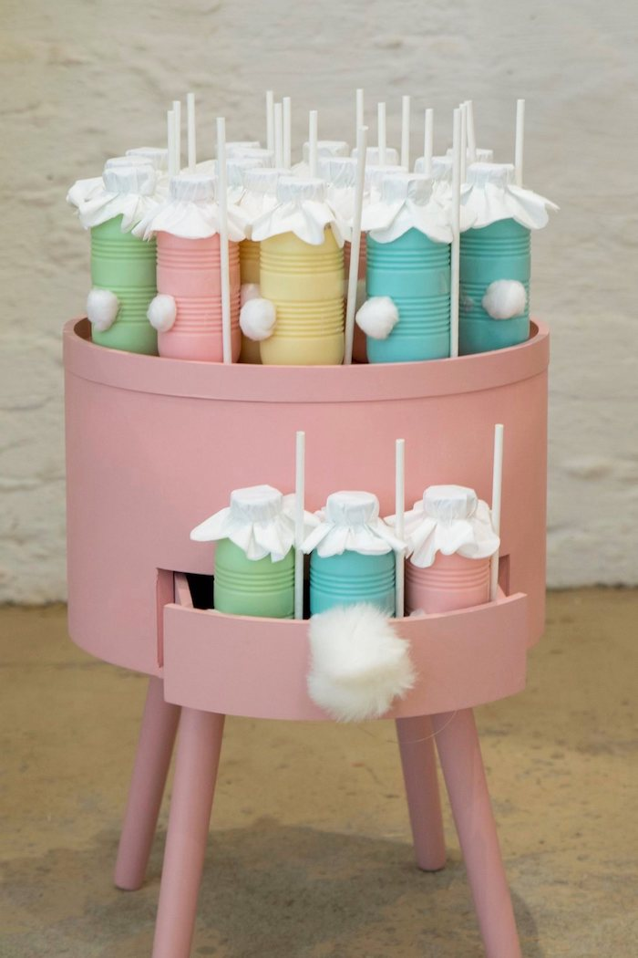 Pastel Bunny Tail Drinks from a Some Bunny is One Birthday Party on Kara's Party Ideas | KarasPartyIdeas.com (6)